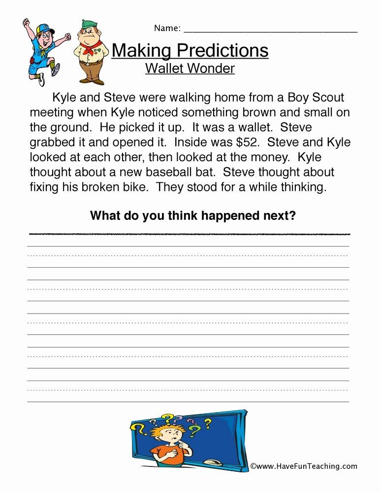 Making Predictions In Reading Worksheets Free Wallet Wonder Predictions Worksheet