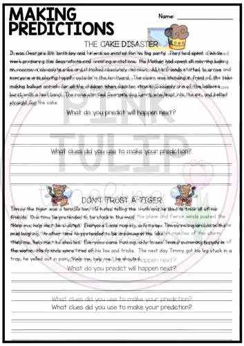 Making Predictions In Reading Worksheets Inspirational Making Predictions Reading Worksheet Pack by Pink Tulip