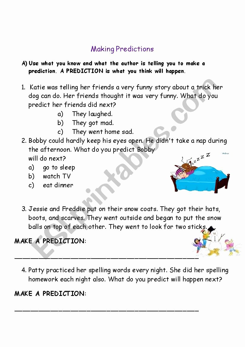 Making Predictions In Reading Worksheets Lovely Making Predictions Esl Worksheet by Celeine