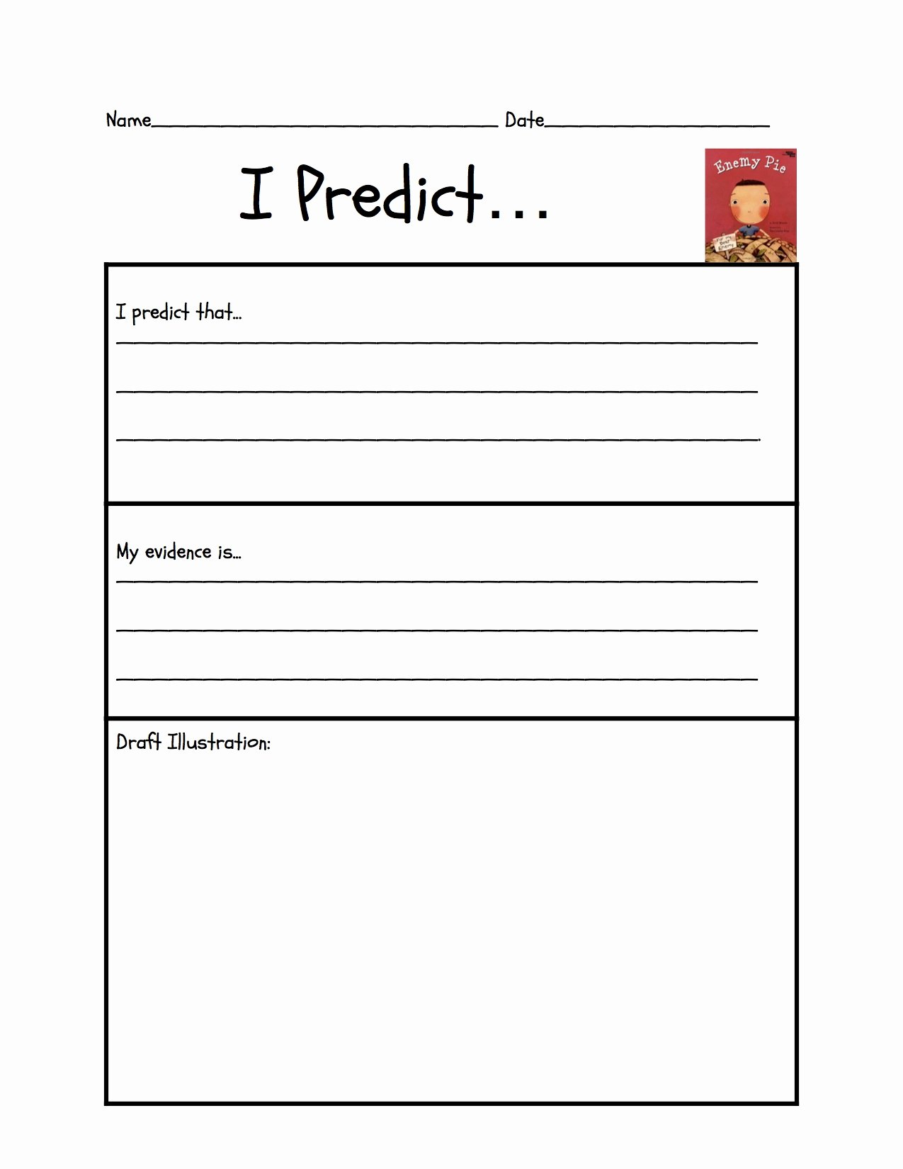 "Making Predictions Worksheets 2nd Grade Inspirational Predicting ""enemy Pie"""