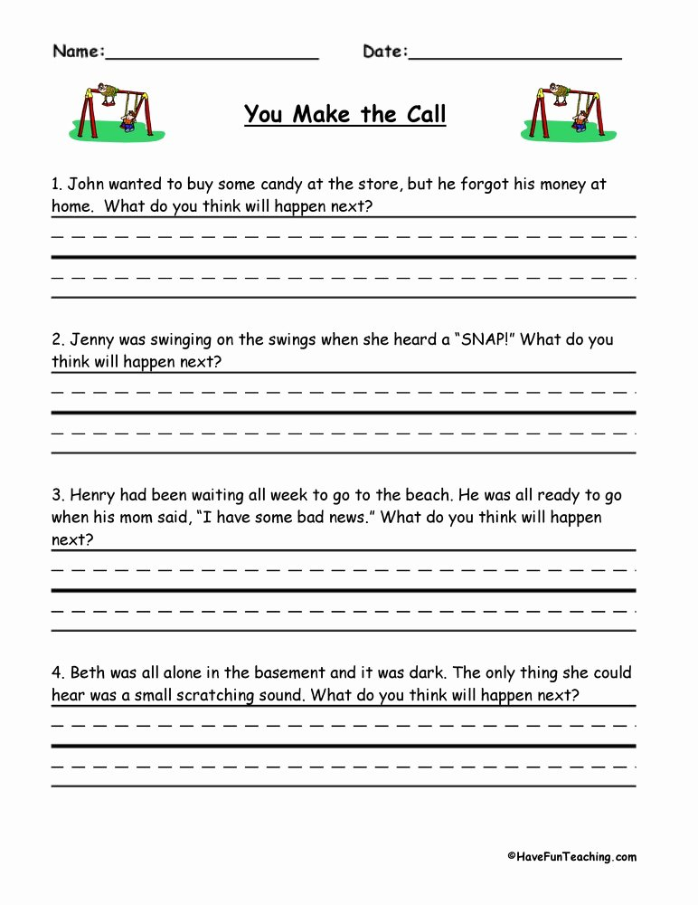 Making Predictions Worksheets 3rd Grade Ideas You Make the Call Inferences Worksheet