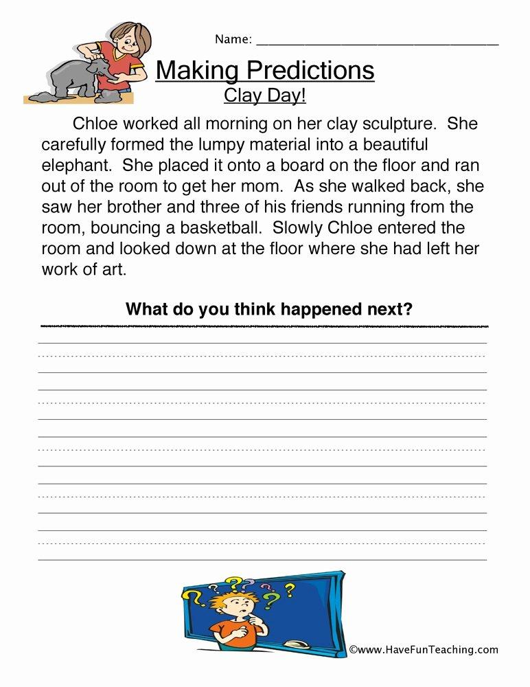 Making Predictions Worksheets 3rd Grade Inspirational Clay Day Predictions Worksheet