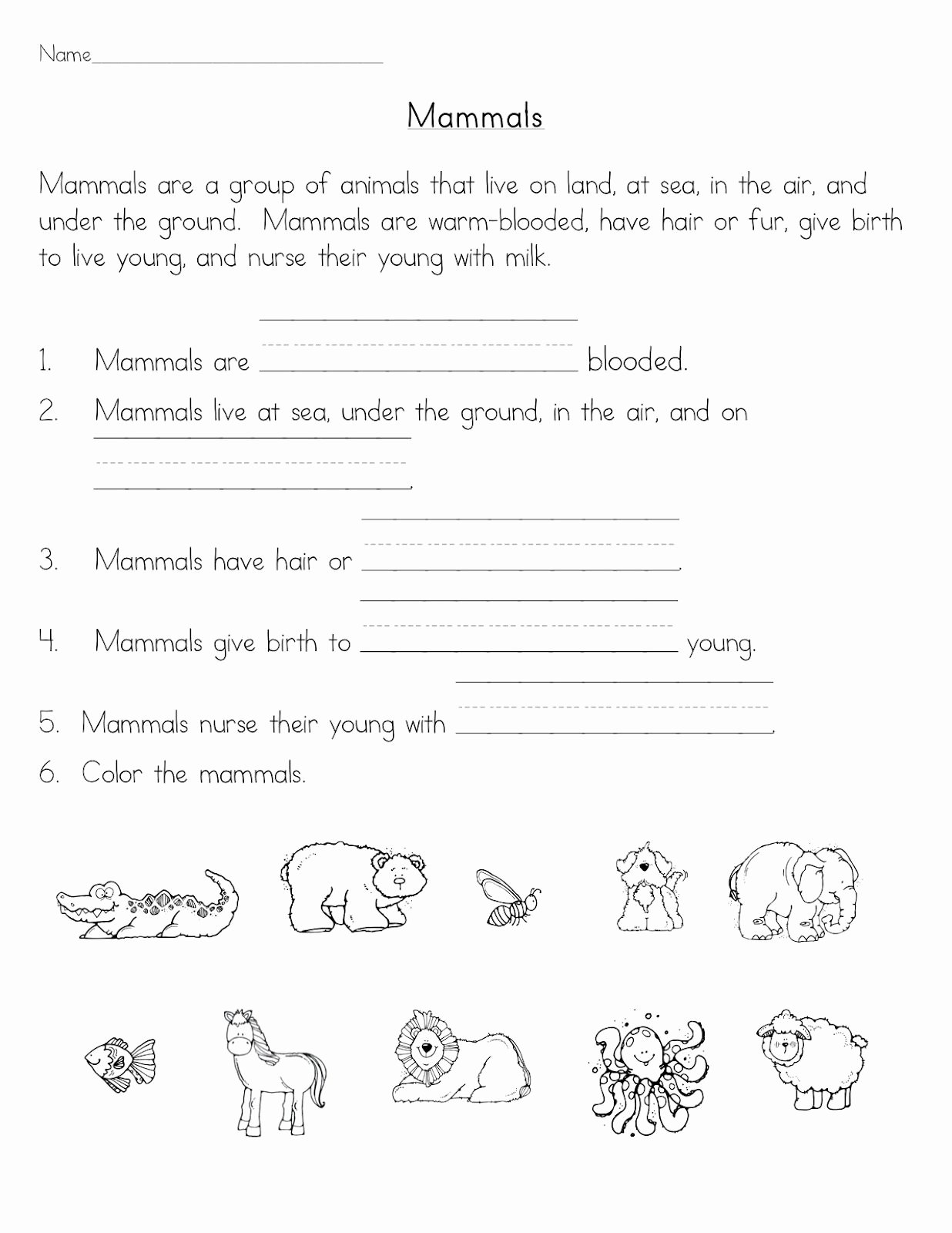 Mammals Worksheets for 2nd Grade Best Of Mammals Classroom Freebies