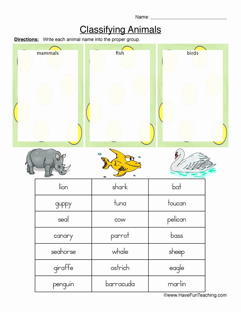 Mammals Worksheets for 2nd Grade Kids Mammals Fish or Birds Classifying Animals Worksheet