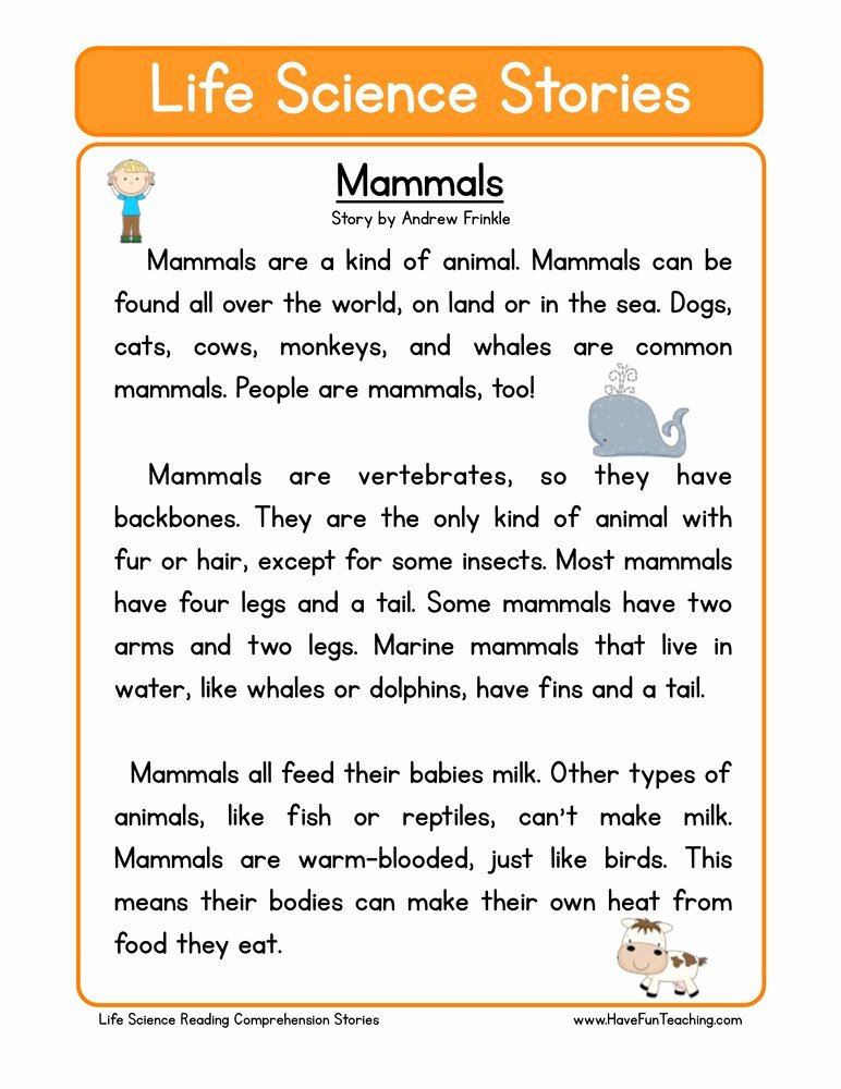 Mammals Worksheets for 2nd Grade Lovely Mammals Life Science Reading Prehension Worksheet