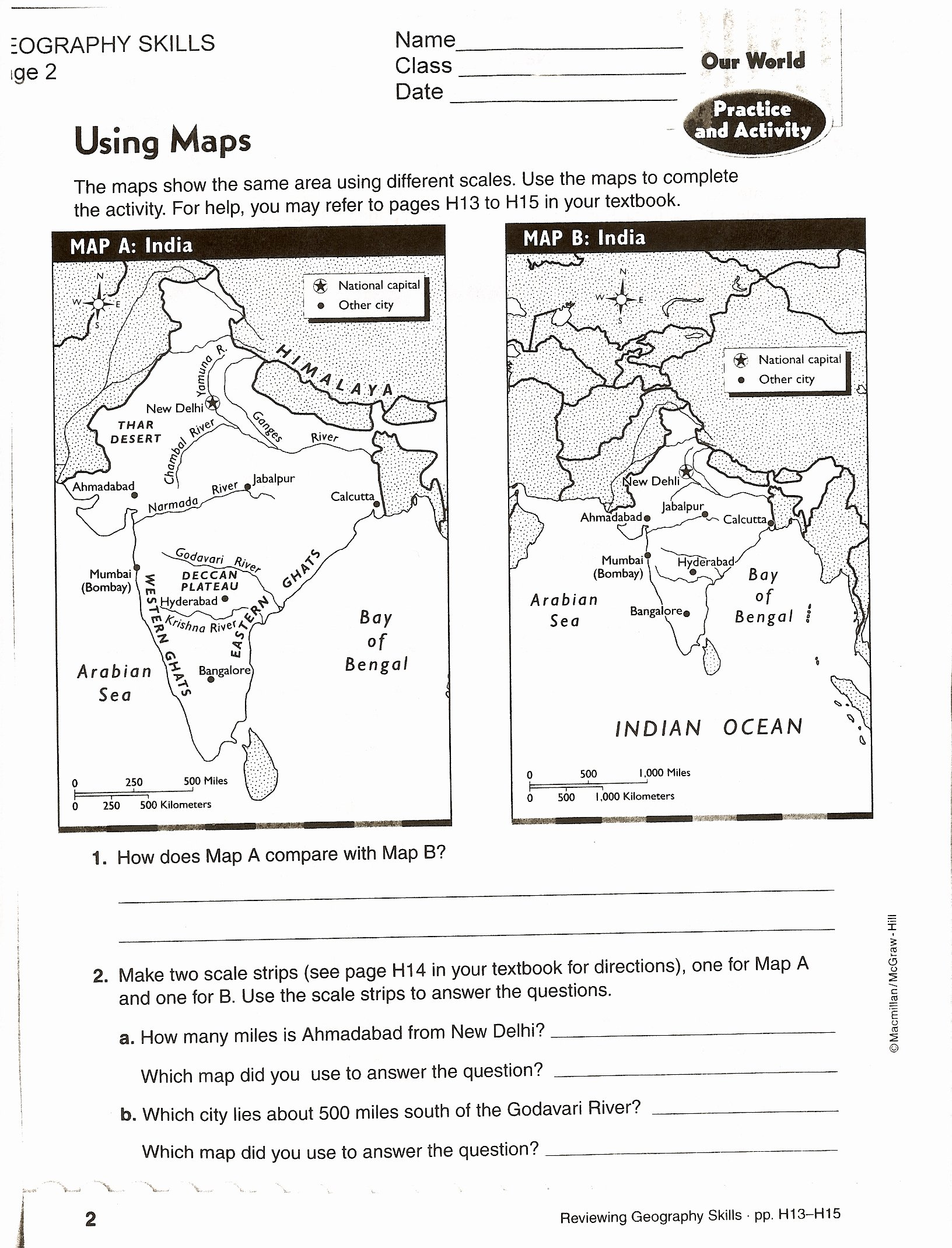 Map Scale Worksheet 3rd Grade Inspirational Using Scale A Map Worksheet