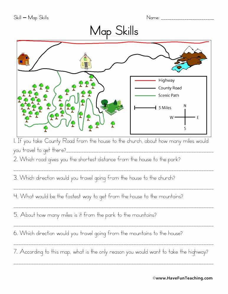 Map Scale Worksheet 3rd Grade New Map Skills Worksheet