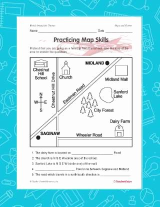 Map Skills Worksheet 2nd Grade Lovely Practicing Map Skills Printable Geography 2nd 4th Grade