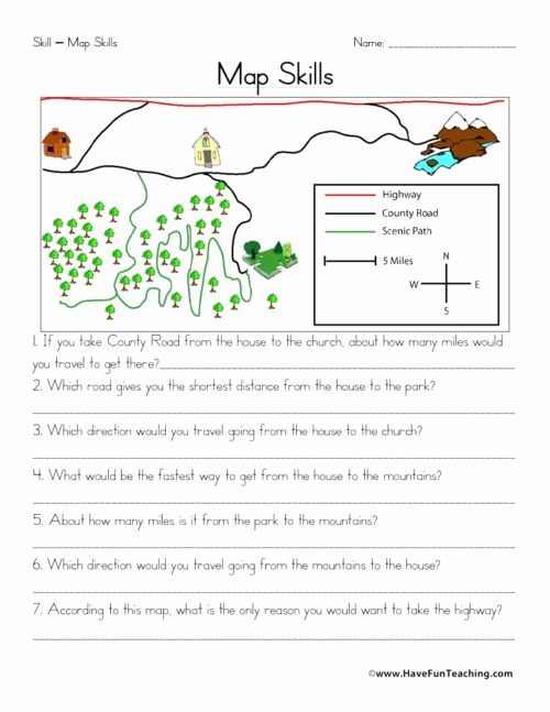 Map Skills Worksheet 4th Grade Free Maps Worksheets • Have Fun Teaching