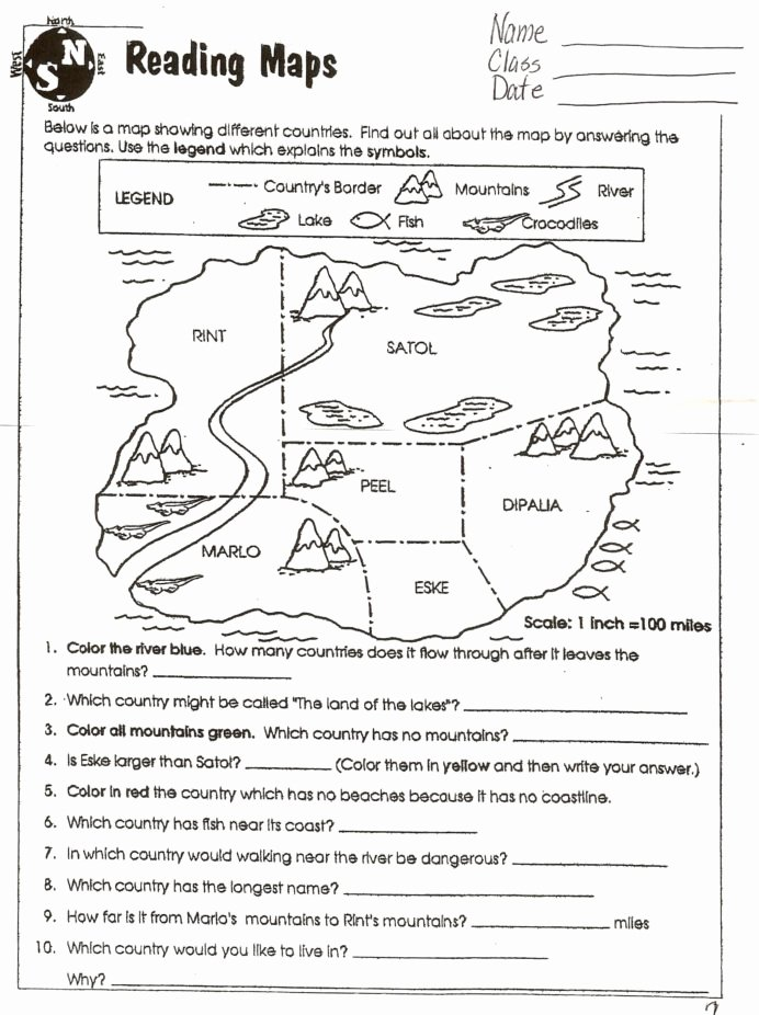 Map Skills Worksheet 4th Grade Inspirational Reading Worksheets Grade 6th social Stu S Year Geography