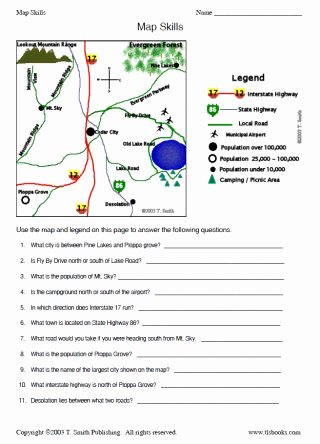 Map Skills Worksheet 4th Grade top Map Skills Worksheet 2