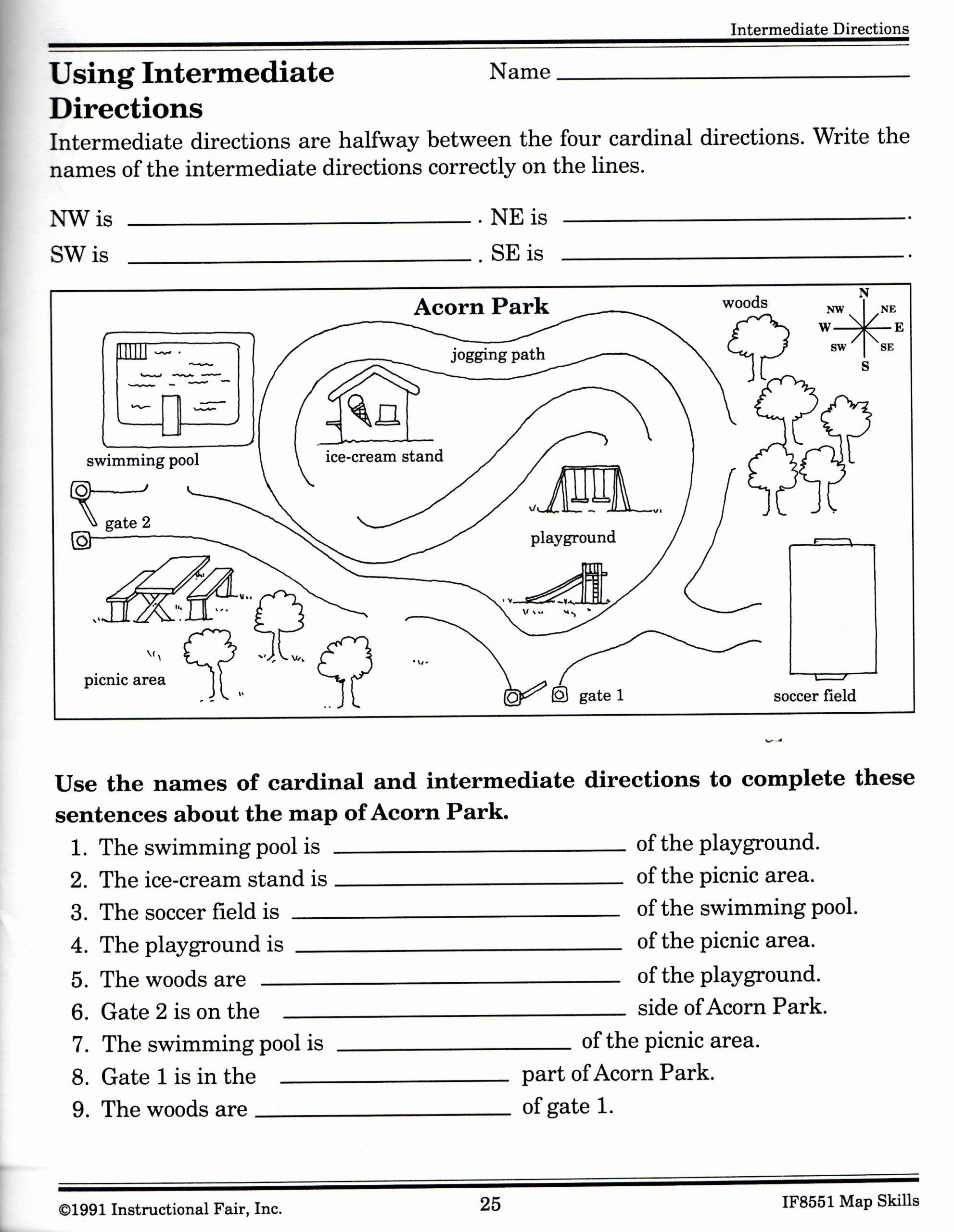 Map Skills Worksheets 3rd Grade Free Intermediate Directions Worksheet
