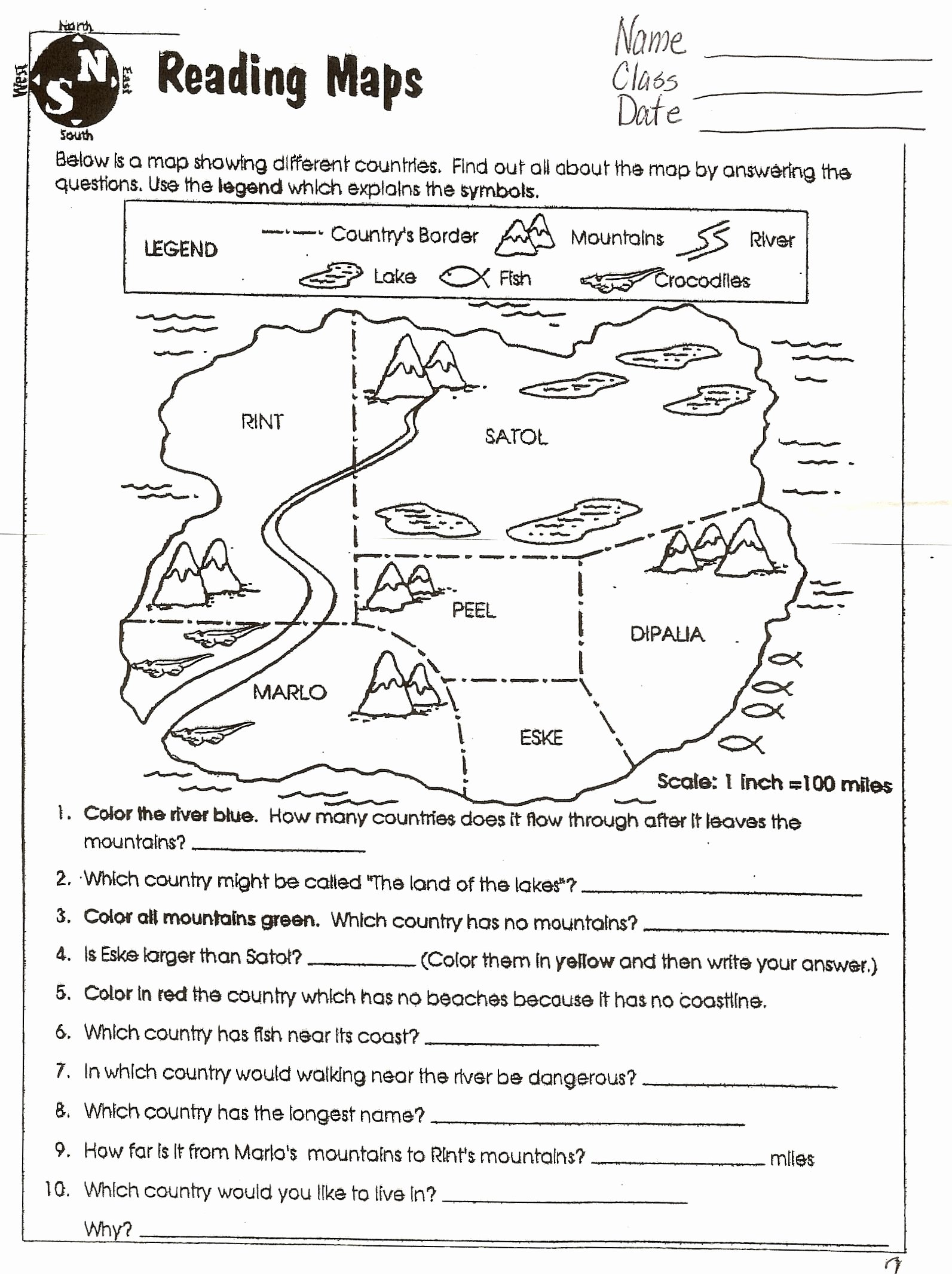 Map Skills Worksheets 6th Grade Printable social Stu S Skills
