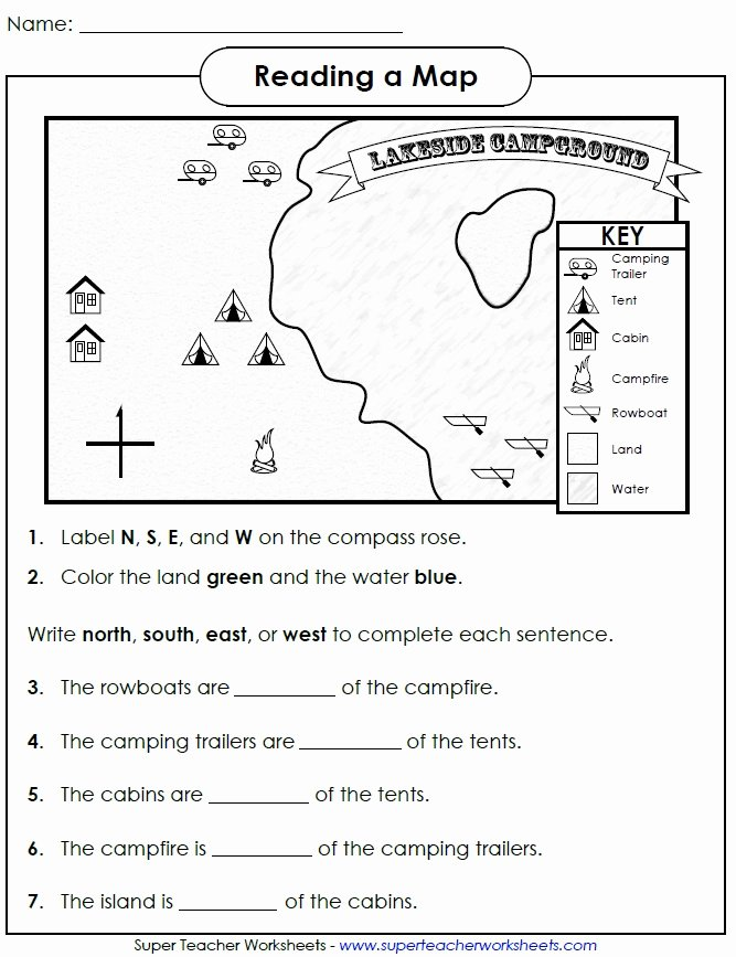 Map Worksheets for 2nd Grade Printable Reading Map Cardinal Directions Pass Worksheets Year