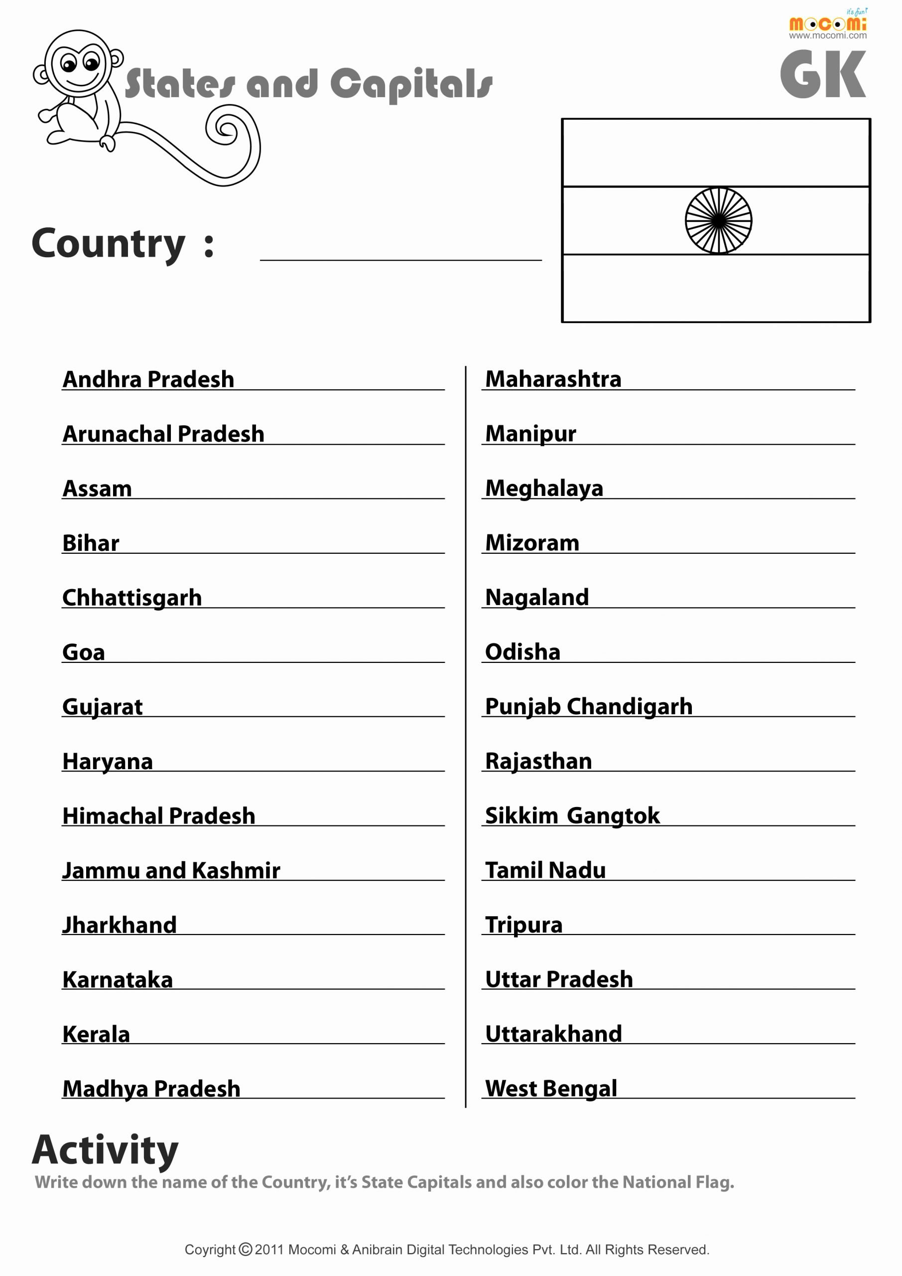 Matching States and Capitals Worksheet Best Of Indian States and their Capitals English Worksheets for
