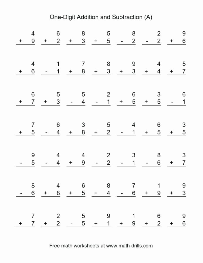 Math Addition and Subtraction Worksheets Best Of Addition and Subtraction Worksheet Math Free Printable