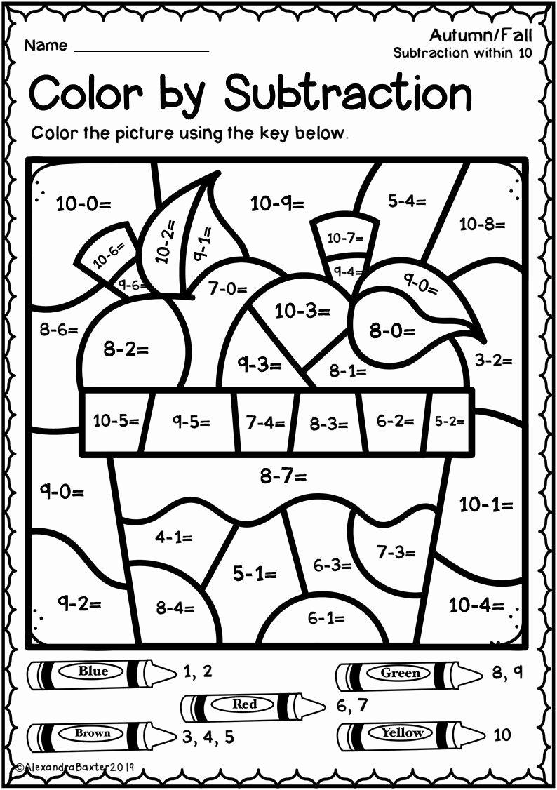 Math Coloring Worksheets 1st Grade Kids Autumn Fall Color by Subtraction Worksheets