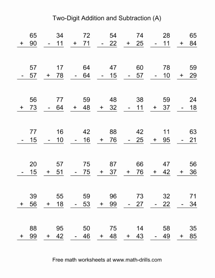 Math Worksheets Addition and Subtraction Free Two Digit Bined Addition and Subtraction Worksheet