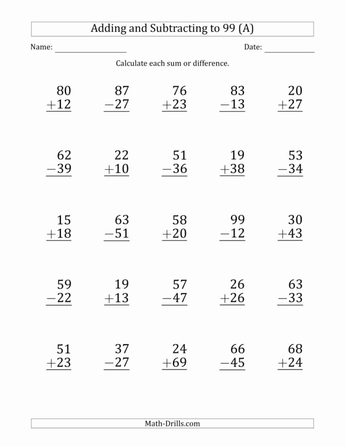 Math Worksheets Addition and Subtraction Inspirational Print Adding and Subtracting Digit Numbers with Sums
