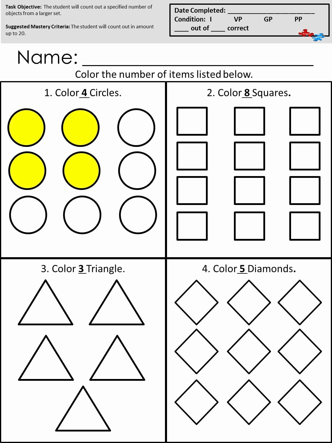 Math Worksheets for Autistic Students Ideas Count Out Objects From A Larger Set Available at