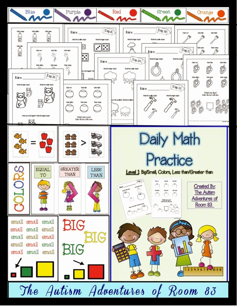 Math Worksheets for Autistic Students New Daily Math Practice Level 1 Big Small More Less Colors