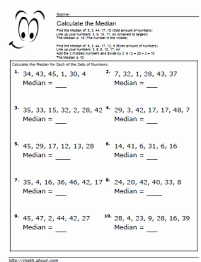 Mean Median Mode Worksheets Kuta Kids Millimeter Graph Paper Printable Median Math Worksheets
