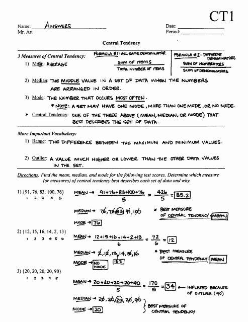 Measure Of Central Tendency Worksheet Inspirational Central Tendency Worksheet Ct1 Answers Pdf