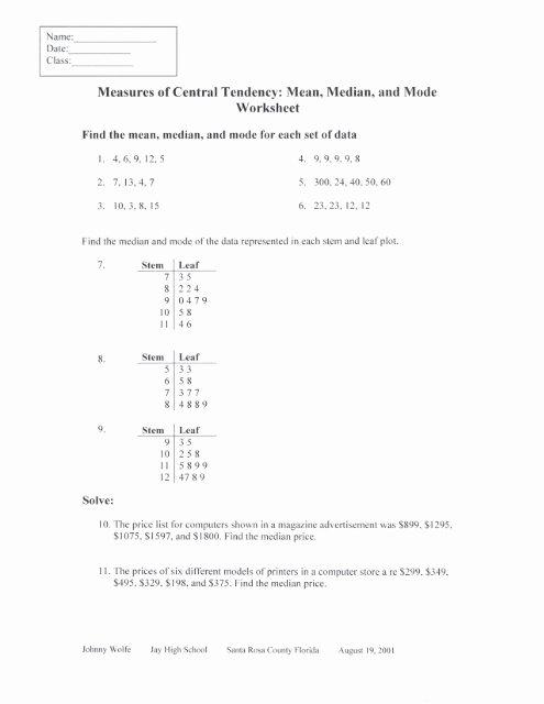Measure Of Central Tendency Worksheet Printable Measures Of Central Tendency Mean Median and Mode Worksheet