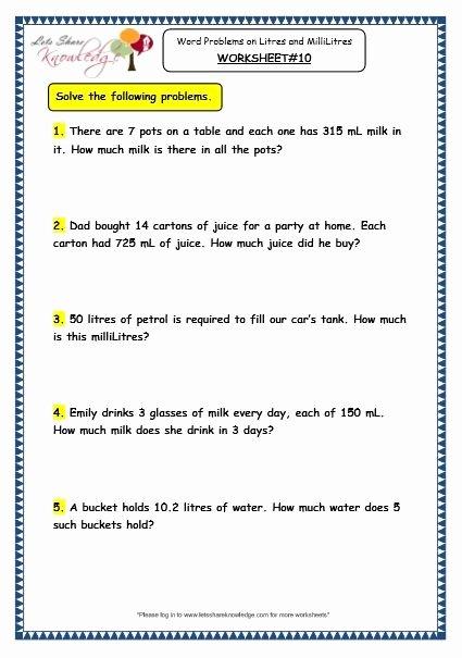 Measurement Worksheets for 3rd Grade Best Of Grade 3 Maths Worksheets 13 6 Measurement Of Capacity