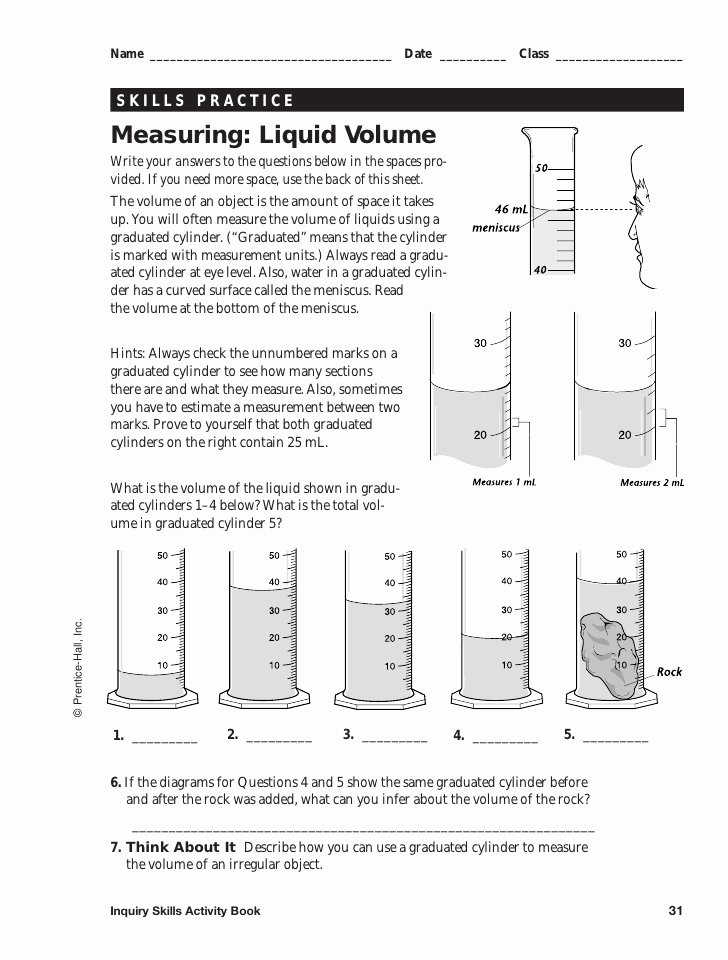 Measuring Liquid Volume Worksheet Answers Fresh Measuring Packet