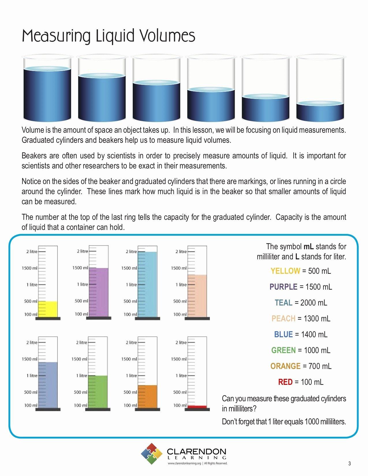 Measuring Liquid Volume Worksheet Answers Lovely Measuring Liquid Volume