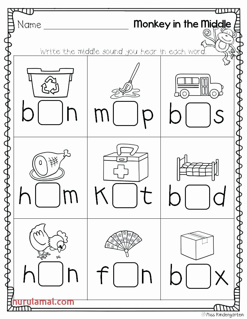 Medial sounds Worksheets First Grade Best Of Middle sound Worksheets 1st Grade In 2020