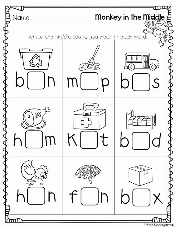 Medial sounds Worksheets First Grade Free Super Cvc Practice Miss Kindergarten