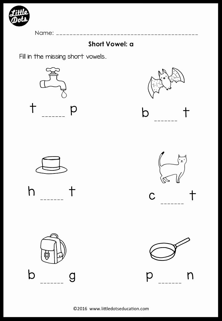 Medial sounds Worksheets First Grade Printable Short Vowels Middle sounds Worksheets and Activities