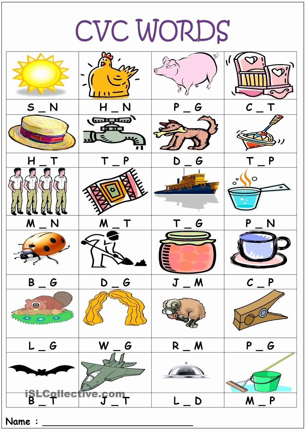 Medial sounds Worksheets First Grade top Cvc Words Medial sounds