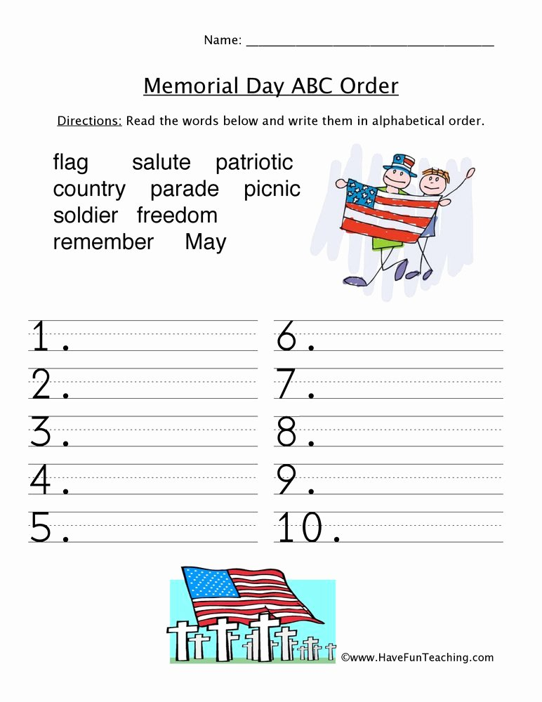 Memorial Day Worksheets First Grade Best Of Memorial Day Abc order Worksheet