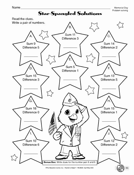 Memorial Day Worksheets First Grade Free Memorial Day Worksheet Problem solving the Mailbox