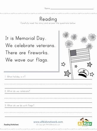 Memorial Day Worksheets First Grade Inspirational Memorial Day Reading Prehension Worksheet