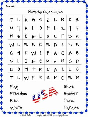 Memorial Day Worksheets First Grade Lovely Memorial Day Word Search