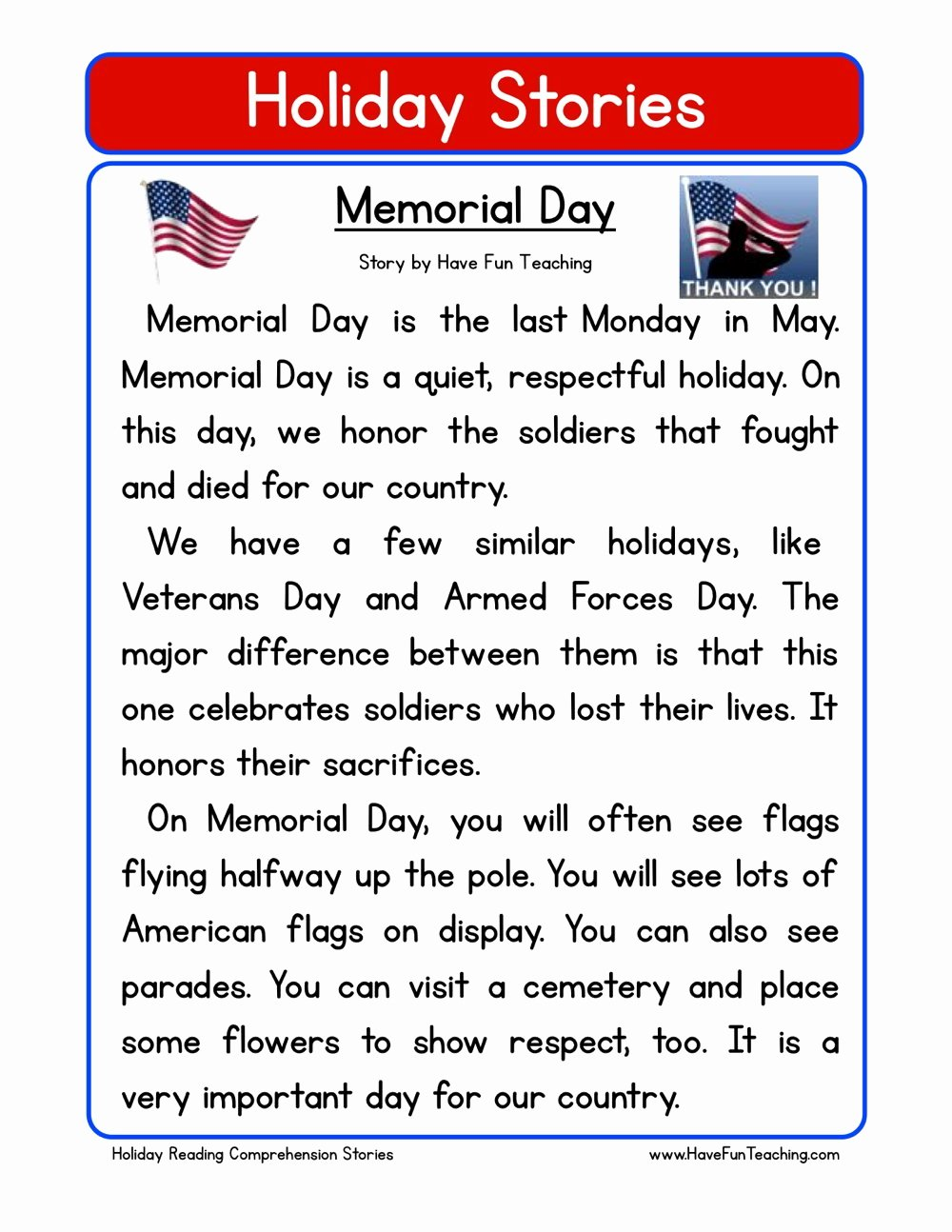 Memorial Day Worksheets First Grade Printable Memorial Day Reading Prehension Worksheet