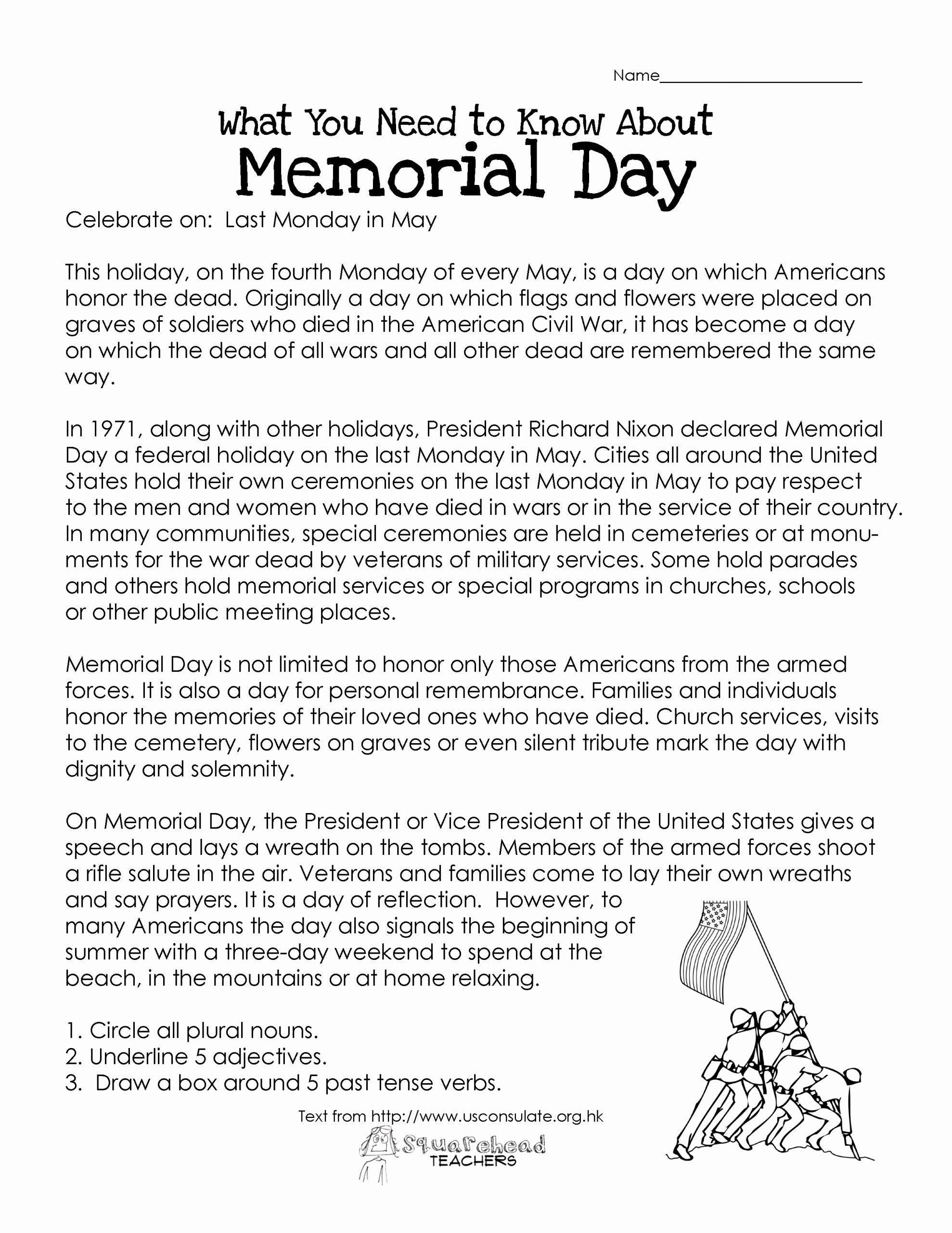 Memorial Day Worksheets for Kids Best Of Memorial Day Free Worksheet