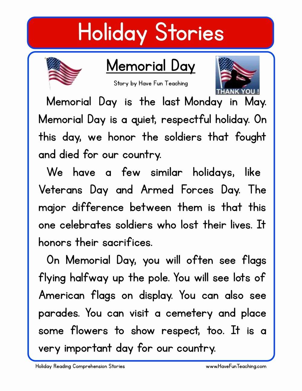 Memorial Day Worksheets for Kids Best Of Memorial Day Reading Prehension Worksheet