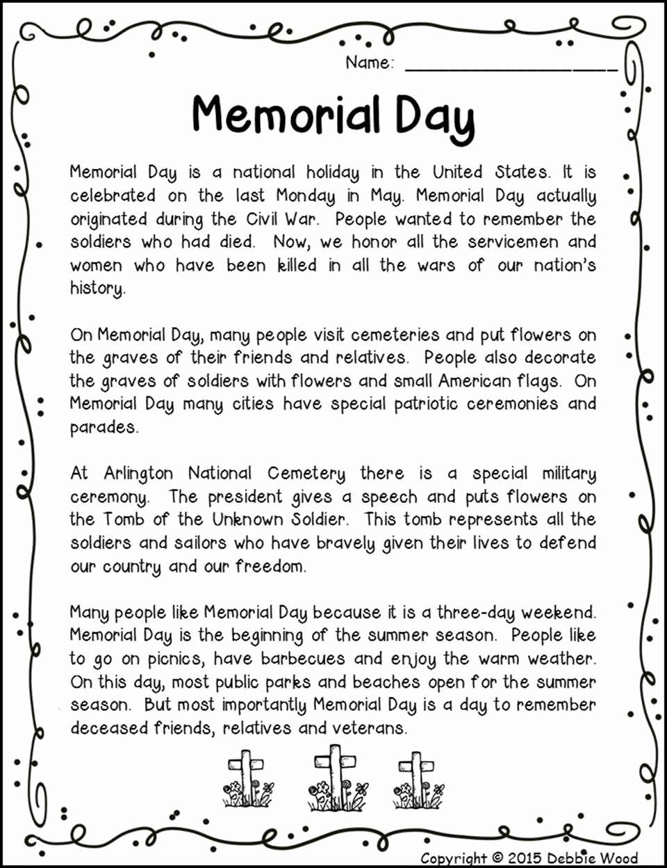 Memorial Day Worksheets for Kids Free Memorial Day