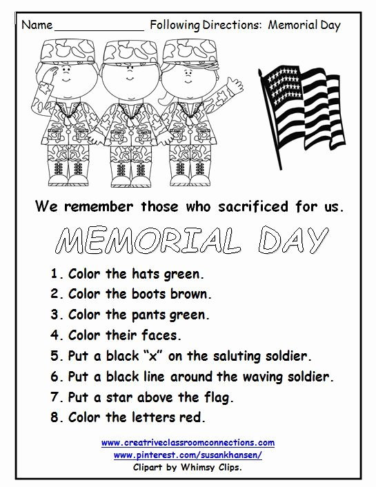 Memorial Day Worksheets for Kids Free This Free Memorial Day Worksheet Reminds Students Of the