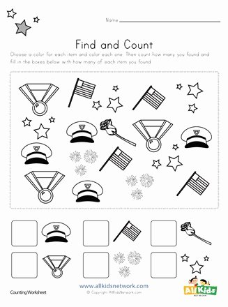 Memorial Day Worksheets for Kids top Memorial Day Find and Count Worksheet