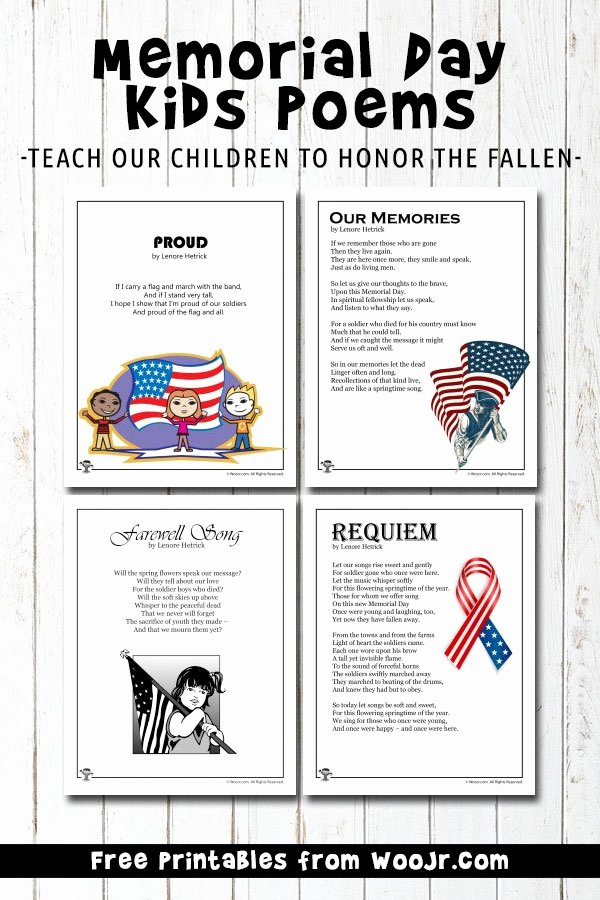 Memorial Day Worksheets for Kids top Memorial Day Kids Poems