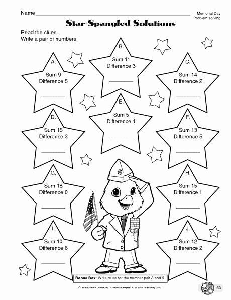 Memorial Day Worksheets Free Printable Best Of Memorial Day Worksheet Problem solving the Mailbox
