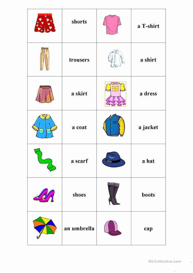 Memory Exercises for Adults Printable Kids Clothes Memory Game English Esl Worksheets for Distance