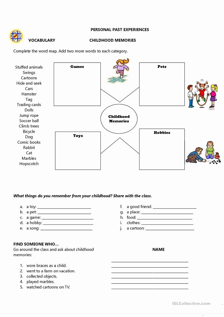 Memory Exercises for Adults Printable New Childhood Memories English Esl Worksheets for Distance