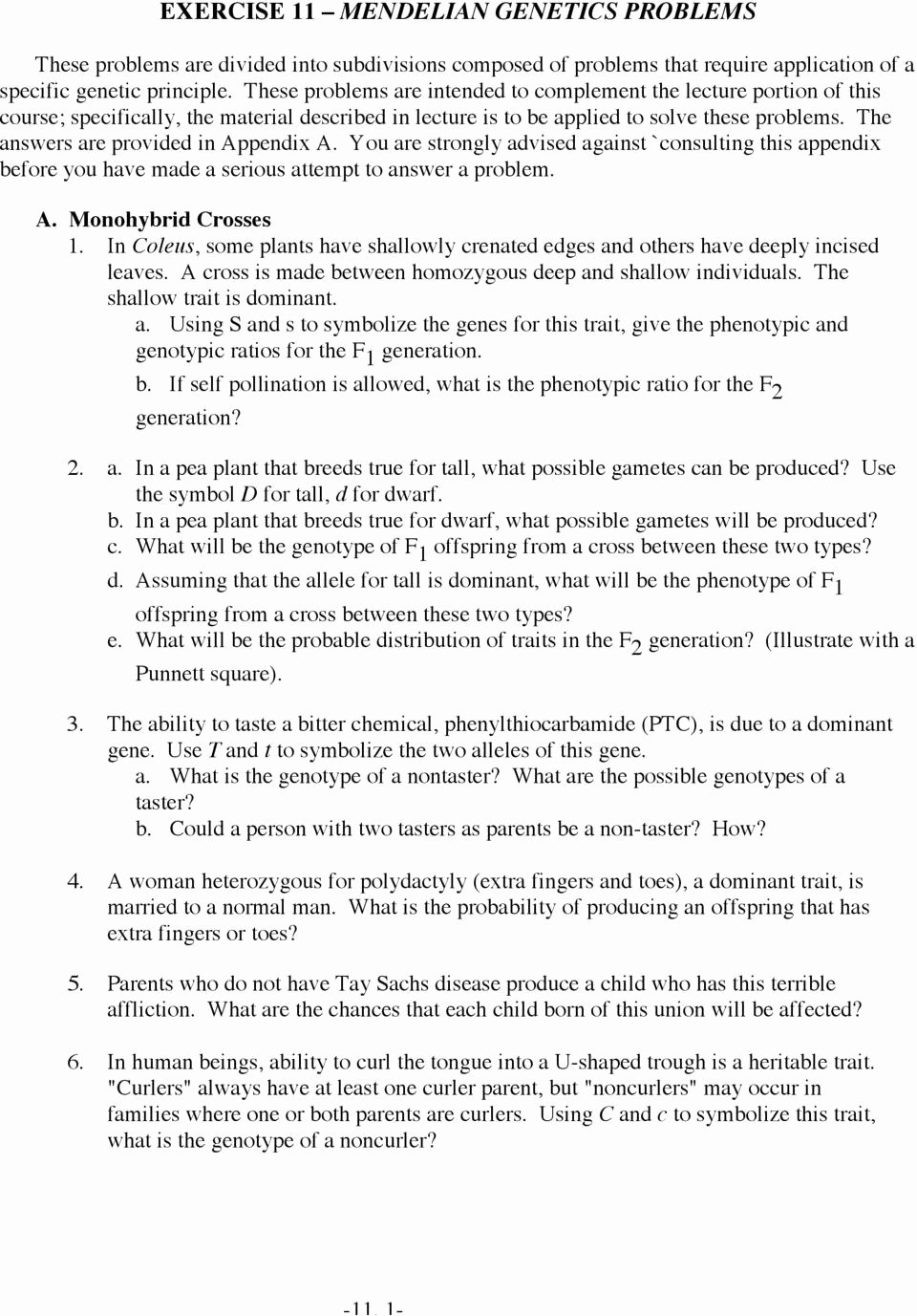 Mendelian Genetics Worksheet Answer Key Fresh Mendelian Genetics Worksheet Answers Fresh Worksheet Punnett